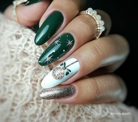 Green Long Christmas nails