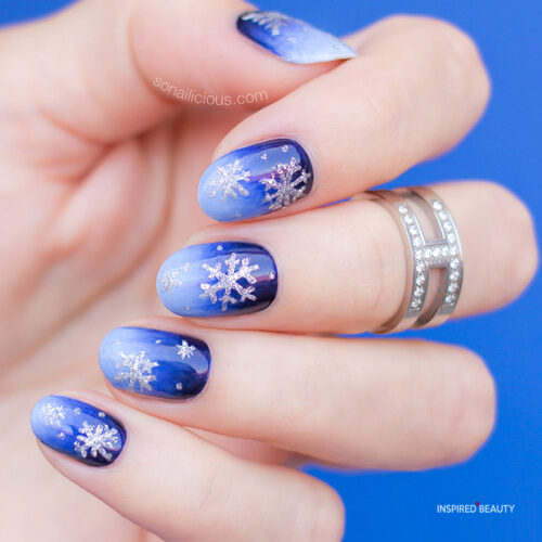 Blue nails for Christmas