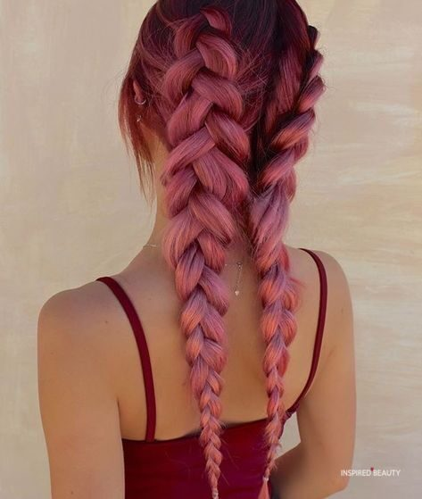 cute burgundy braids