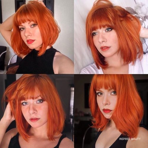 Ginger red hair bob cut