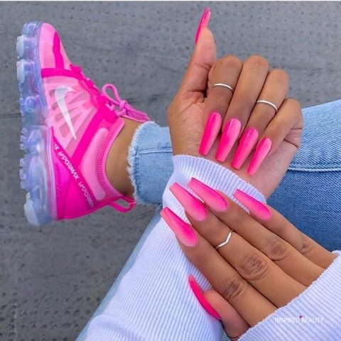 ombre pink nails coffin