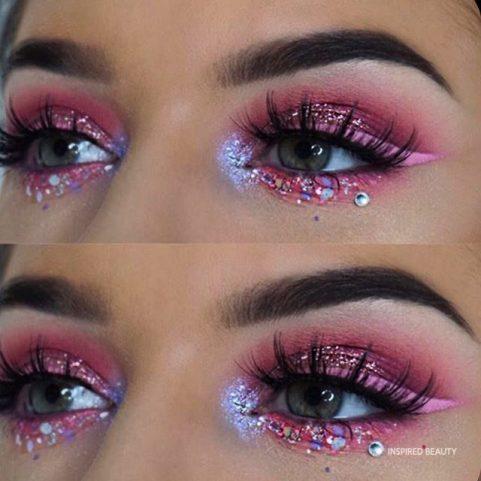 Makeup look , rhinestone eye makeup