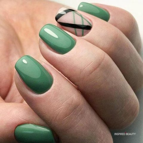 Green Squoval Nails