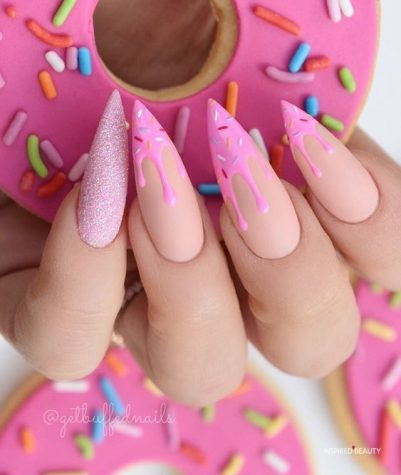 Pink Donuts Stiletto nails design
