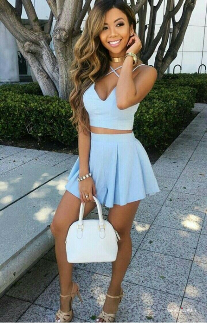 Fashion, outfit, cute blue dress