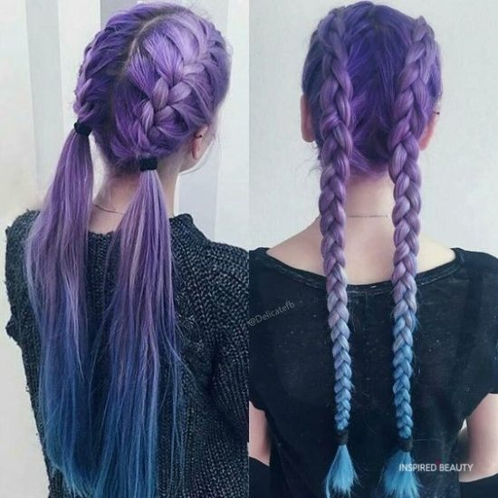purple Hair color with cornrows