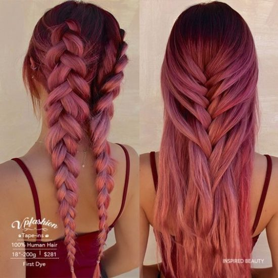 unique red hair color and cute hairstyle