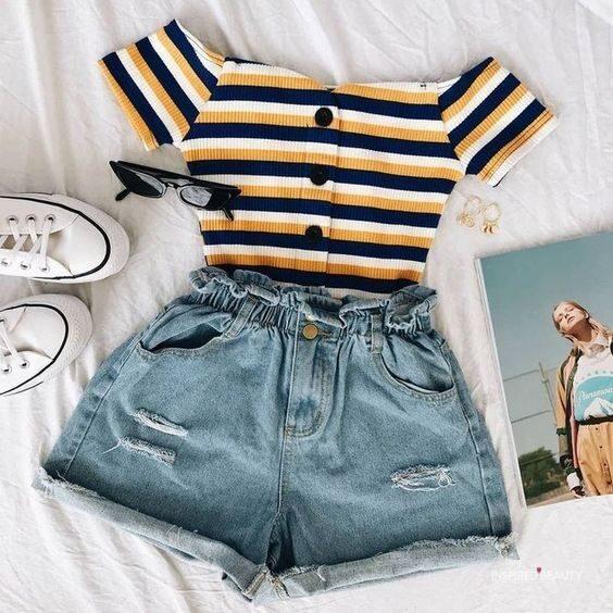 Cute Jean Shorts outfit ideas