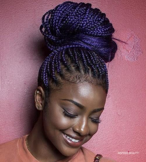 Purple high Bun Braided hairstyles for black women