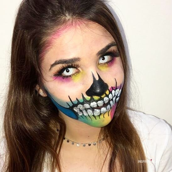 Multi-color with white and black contacts Skull Halloween makeup