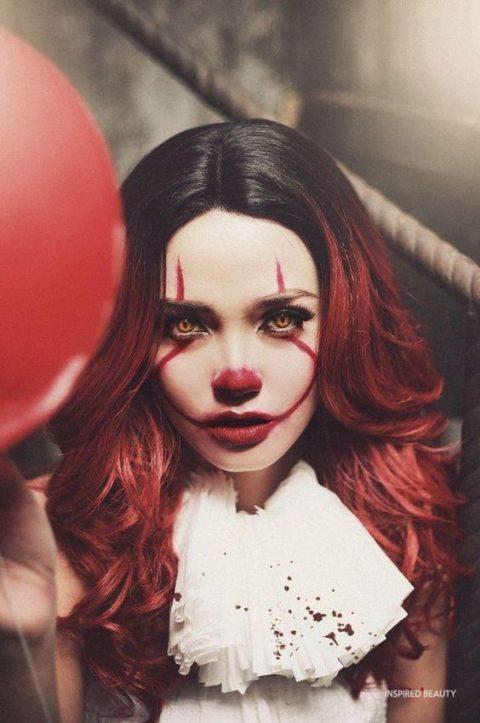 Pennywise Halloween makeup look