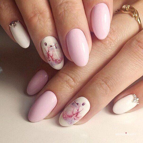 Winter almond nails