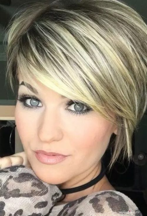 short hairstyle, Pixie cut, blonde, gray and black hair color,