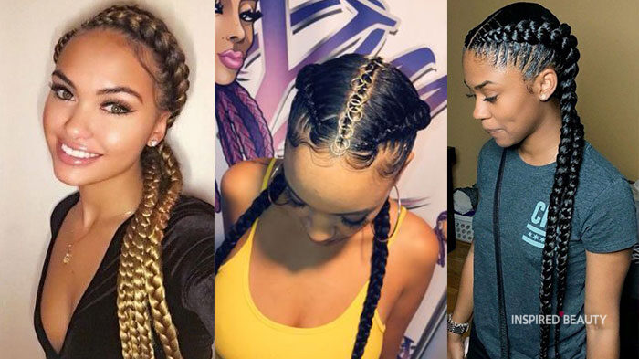 goddess braids with weave