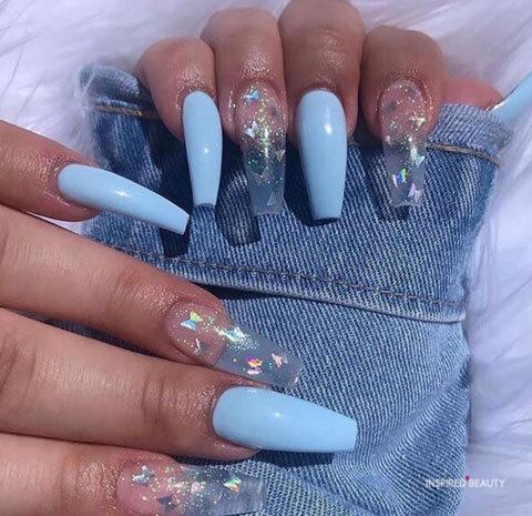 Blue acrylic nail