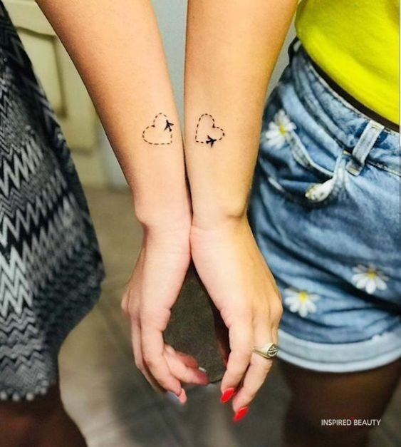 Heart tattoo for sisters