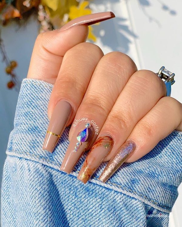 Long Coffin Nails With Rhinestones, brown