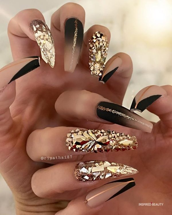 Long Coffin Nails With Rhinestones, gold