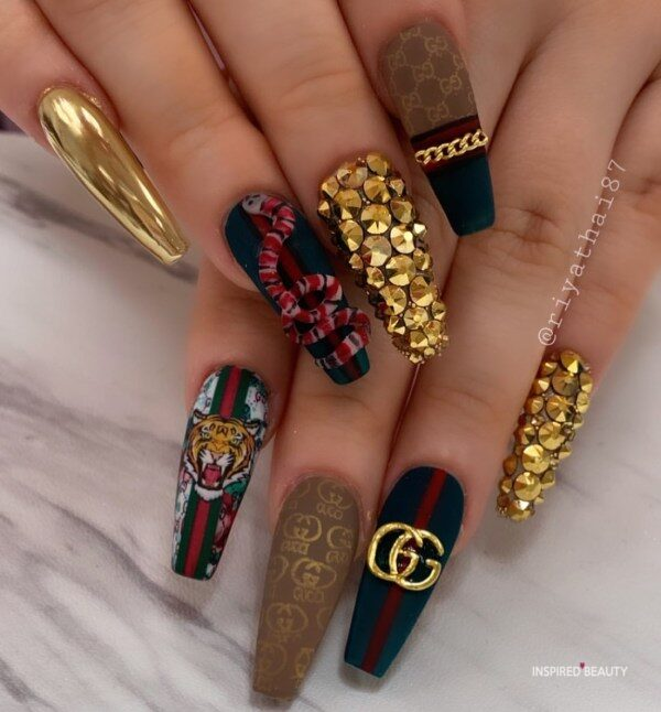 Long Coffin Nails With Rhinestones gucci