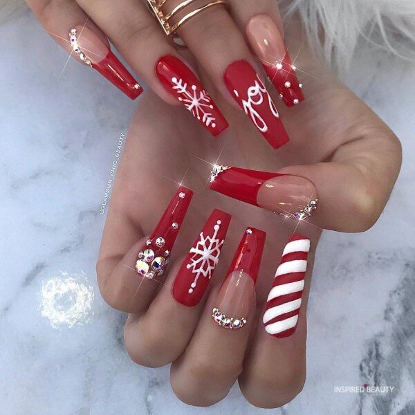 Christmas Long Coffin Nails With Rhinestones