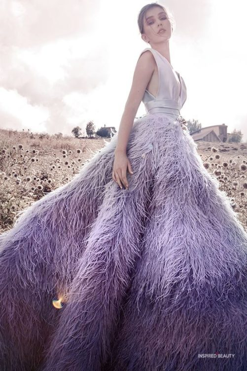Couture Feather Dress Gowns