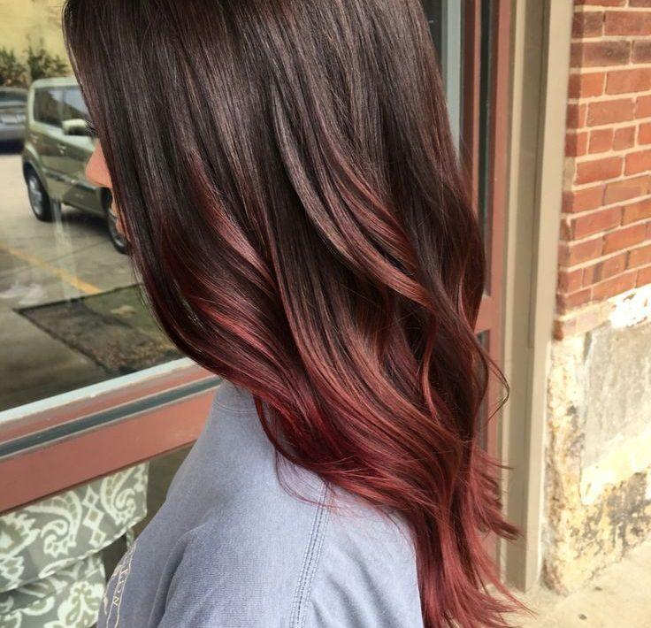 red balayage on brown hair