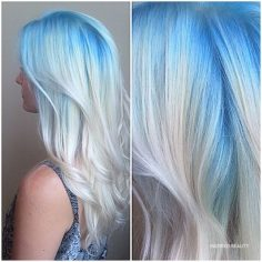 Light blue  , Platinum ice white long hair
