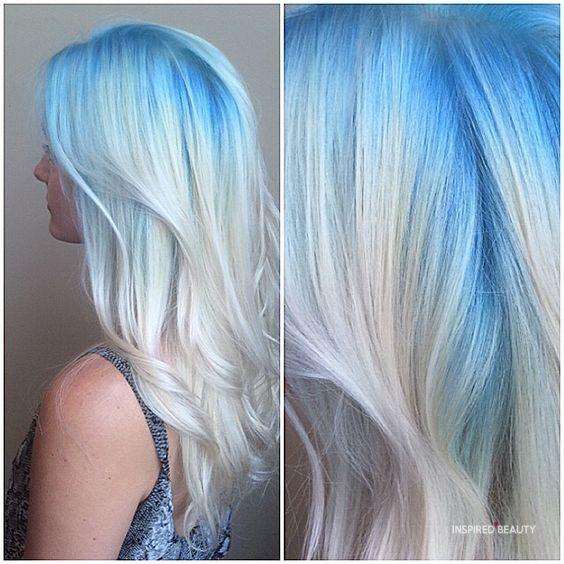 White pastel and blue hair