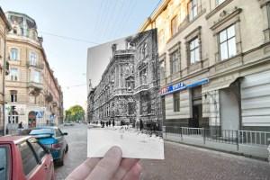Старі фотографії Львова на сучасних будівлях