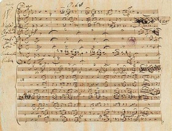 Рукопис дев'ятої симфонії Моцарта