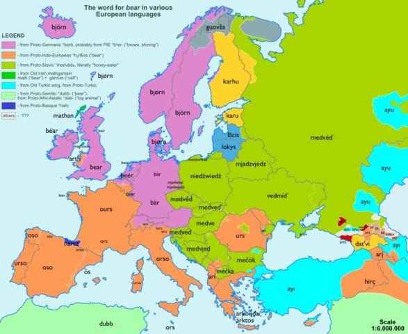 Карти походження слів у Європі