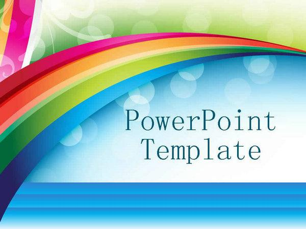 Gorgeous Rainbow Background Ppt Template PPT