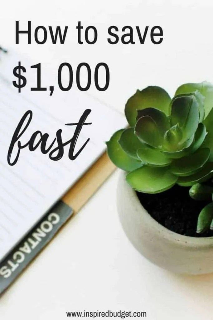 save $1,000 fast by inspiredbudget.com