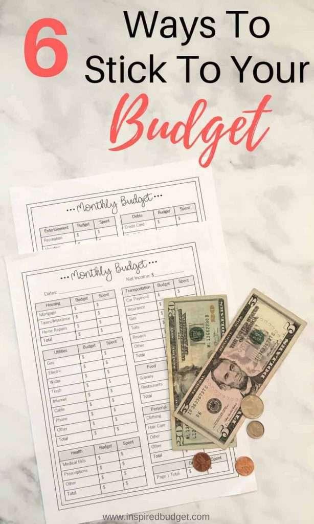 stick to your budget by www.inspiredbudget.com