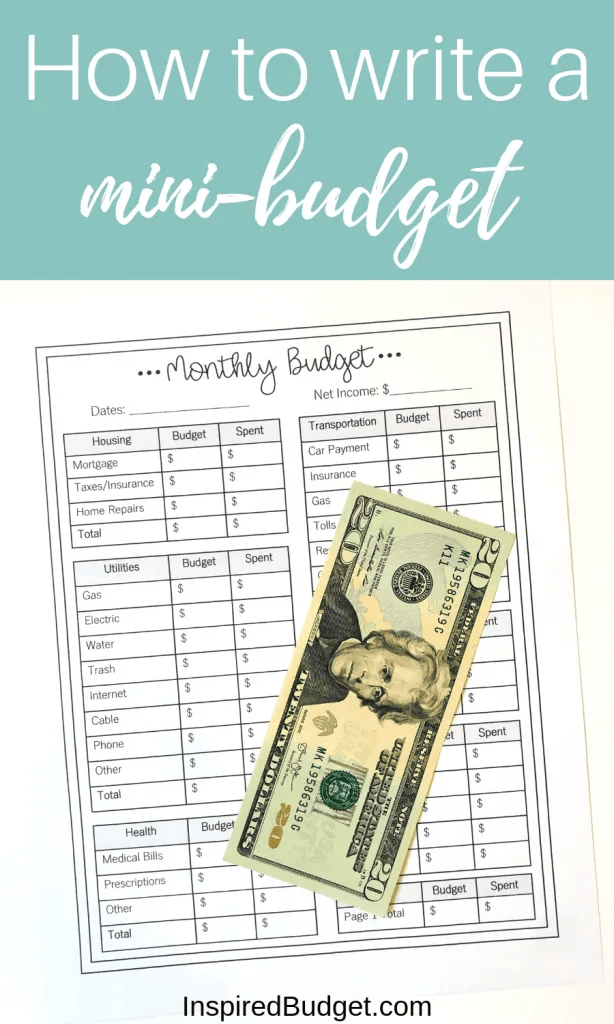 How To Write A Mini Budget by InspiredBudget.com
