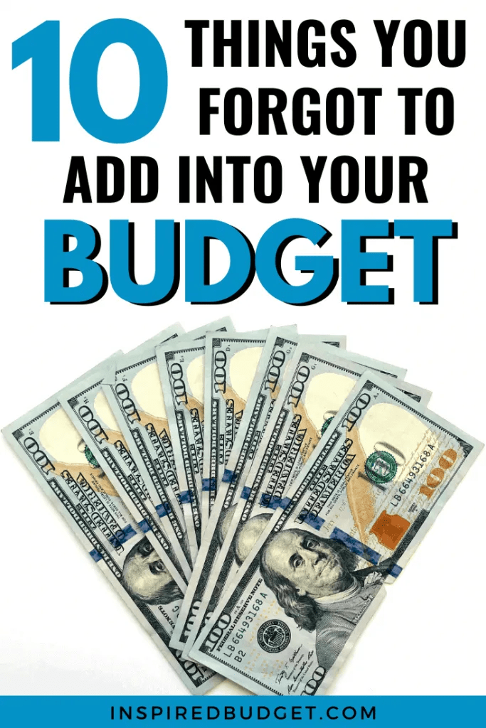 Items Missing From Your Budget by InpsiredBudget.com