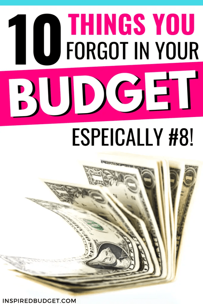Items Missing From Your Budget by InspiredBudget.com