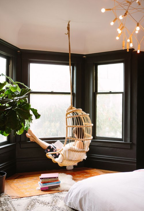 Dream Home Hanging Chair Bay Window Reading Nook in Bedroom