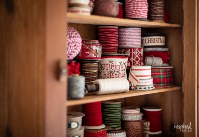 My Christmas Ribbon Cabinet #christmas #ribbon #wrapping #decor #decorations #holiday #christmasribbon