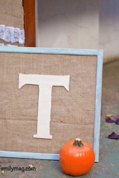 Monogram on Burlap Frame