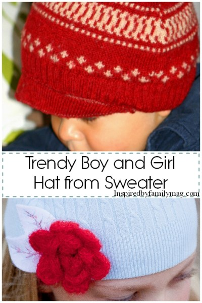 Recycled Sweater Craft: Trendy Boy and Girl Hat
