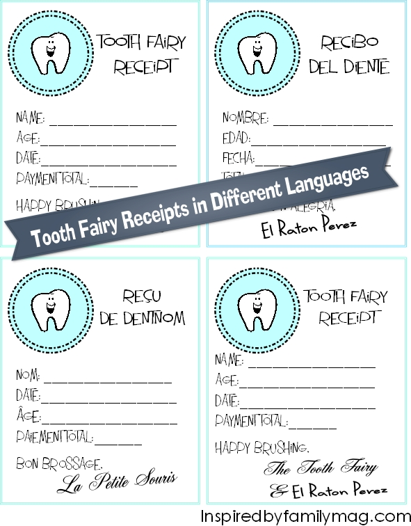 photo about Free Printable Tooth Fairy Receipt called Enamel Fairy Receipt Printables Within just Alternate Languages