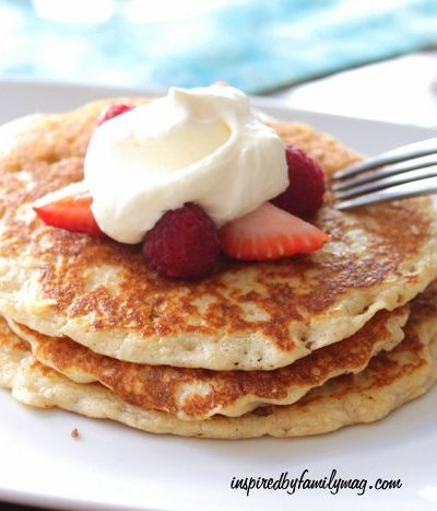 Gluten Free Pancakes with Lemon Whipped Cream & Berries