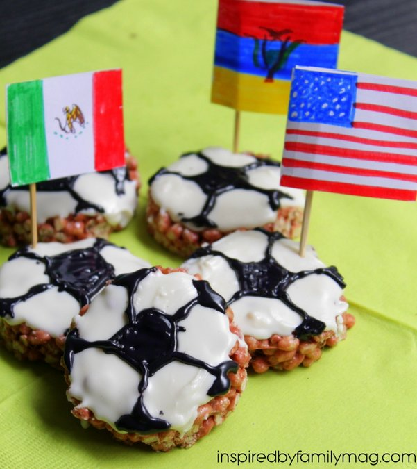 soccer shaped rice krispie treats
