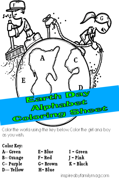 Preschooler Activity: Earth Day Alphabet Coloring Sheet