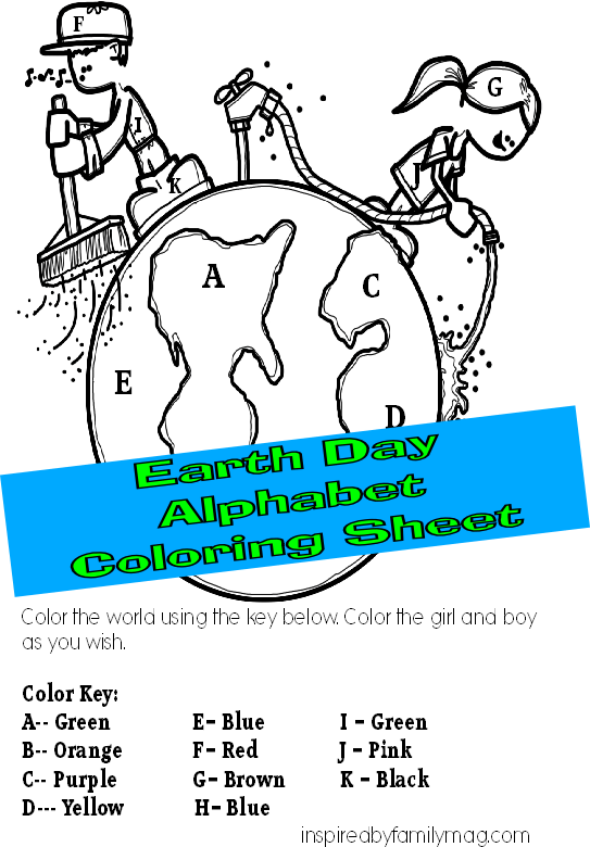 earth day alphabet coloring sheet