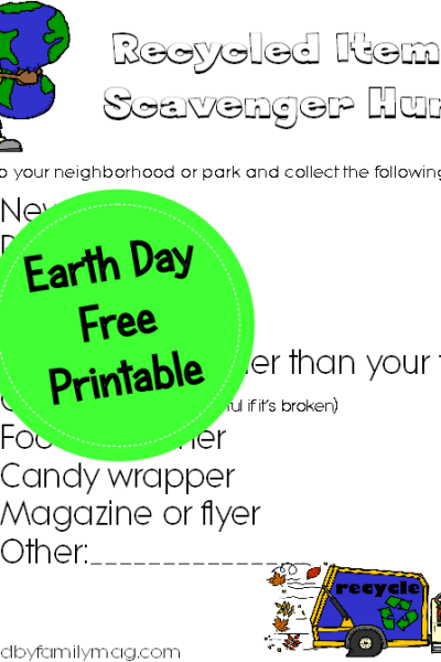 Earth Day Activity: Recycled Items Scavenger Hunt Printable
