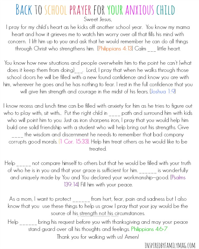 Back To School Prayer for Your Anxious Child