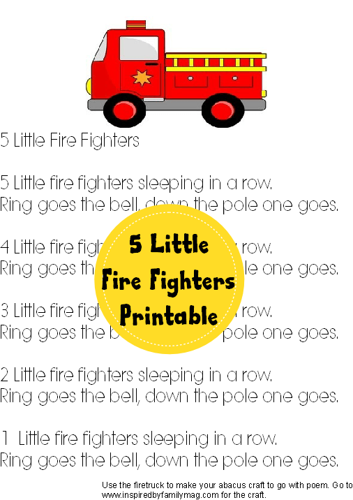 5 little fire fighters poem