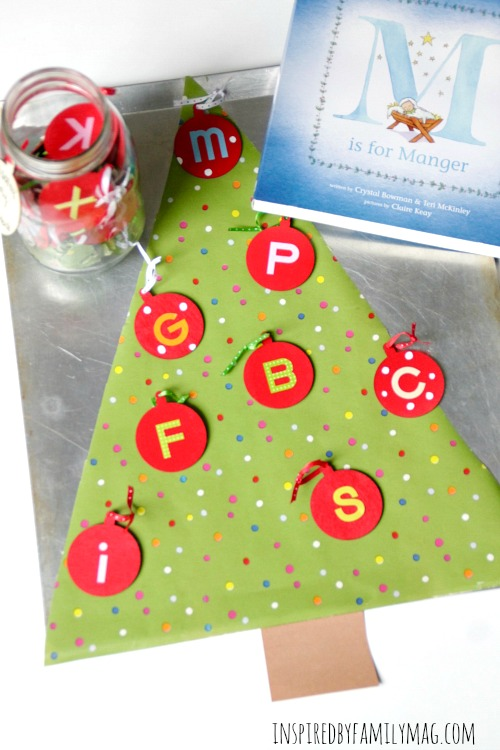 Christmas Story ABC Ornaments Activity for Preschoolers & M is for